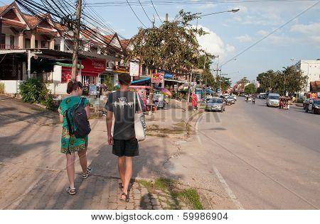 Tourists Walk On The Street In Ao Nang