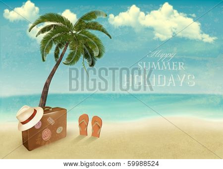 Vintage seaside background with suitcase and a hat. Vector illustration.