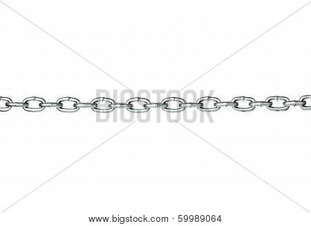 Metal link chain close-up isolated on white background