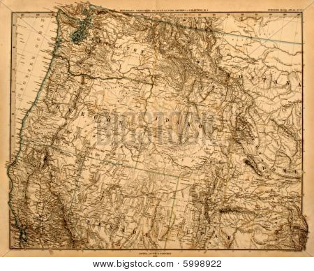 Old map of the US Pacific Northwest.