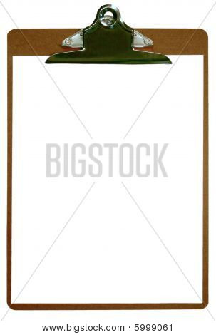Clipboard and blank paper, isolated.