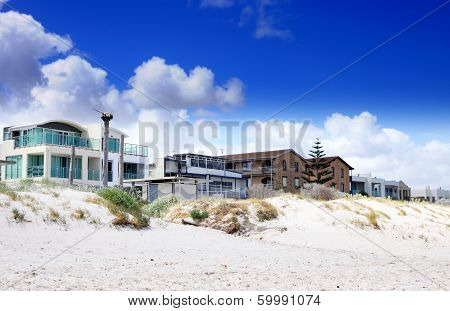 Esplanade Homes And Street Houses Overlooking Beautiful White Sandy Beach. Taken At Henley Beach, So