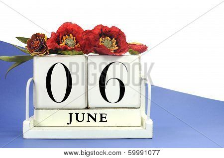 Save The Date Vintage Retro Wood Calendar For June 6, D-day 70Th Anniversary, With Flanders Poppies,