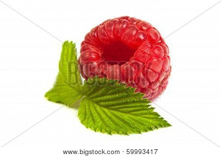 Ripe Rasberry With Green Leaf Isolated Over White. Close Up Macro Shot