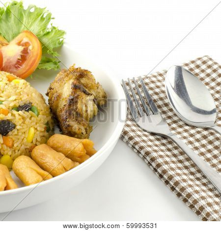 American Fried Rice Isolated On White
