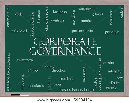 Corporate Governance Word Cloud Concept On A Blackboard