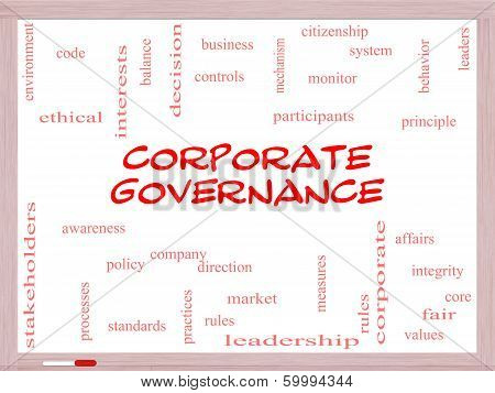 Corporate Governance Word Cloud Concept On A Whiteboard