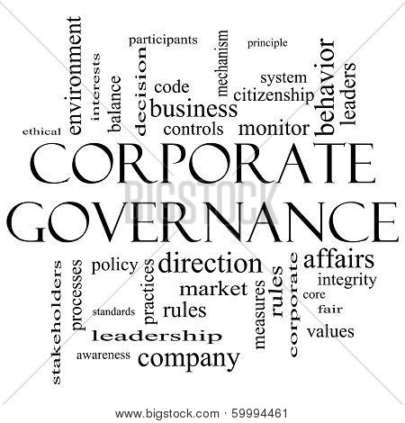 Corporate Governance Word Cloud Concept In Black And White