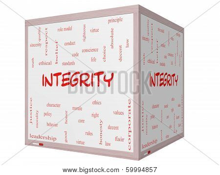 Integrity Word Cloud Concept On A 3D Cube Whiteboard