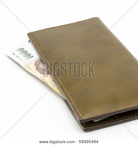 Thai Banknote In Brown Wallet