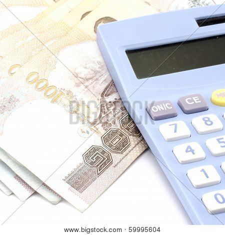 Thai Banknote With Calculator