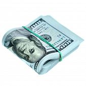 image of bundle  - Bundle of new hundred dollar bills isolated over the white background - JPG