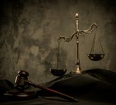 foto of mantle  - Scales and wooden hammer on judge - JPG