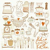 stock photo of saucepan  - Vintage kitchen set in vector - JPG