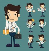 stock photo of clipboard  - Set of businessman with many hands in elegant suit working hold notepad clipboard cell phone paper document contract eps10 vector format - JPG