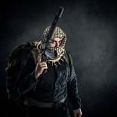stock photo of terrorist  - Terrorist with AK - JPG