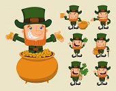 stock photo of leprechaun  - Set of leprechaun characters poses eps10 vector format - JPG