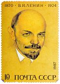 Stamp Printed In Russia Shows Portrait Of Vladimir Ilyich Lenin, Circa 1987