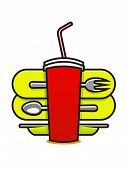 stock photo of takeaway  - Cartoon vector illustration on white of a fast food or takeaway icon with a soda in a polystyrene mug with a straw and a spoon - JPG