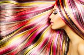 stock photo of striping  - Beauty Fashion Model Girl with Colorful Dyed Hair - JPG