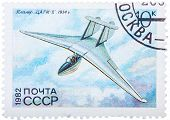 Stamp Printed In Ussr (russia) Shows The Glider With The Inscription