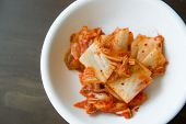 stock photo of pickled vegetables  - Kimchi salad of korean food traditional on dish - JPG