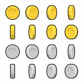 stock photo of greed  - Gold and Silver coins with different rotation angles - JPG