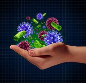 foto of microscopic  - Disease risk medical health care concept with a human hand holding microscopic cancer virus and bacteria cells as a metaphor for pathogen protection from contagious disease and illness - JPG