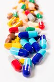 picture of ecstacy  - Selective focus in the middle of pills group - JPG