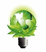 image of light-bulb  - Environmental Eco Earth Globe implemented in a Light Bulb - JPG