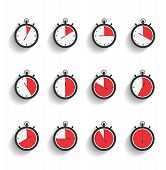 picture of stopwatch  - Stopwatch icons set with diagonal shadows - JPG