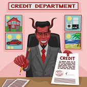 picture of plunder  - The devil offers credit for consumer needs for the client - JPG