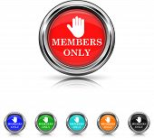 Members Only Icon - Six Colors Vector Set