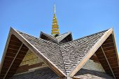 Wood Roof With Top Gold Headdress