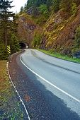 picture of olympic mountains  - Mountain Road Tunnel in Olympic National Park Washington United States - JPG