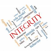 stock photo of conduction  - Integrity Word Cloud Concept angled with great terms such as virtue code conduct and more - JPG