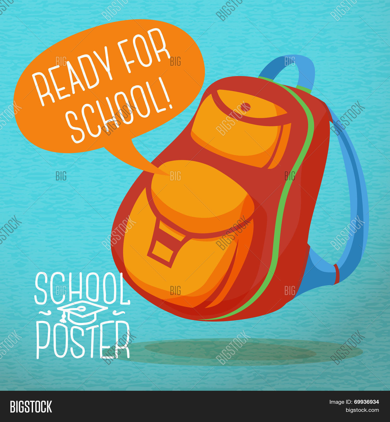Cute education poster - backpack, with speech bubble and slogan ...