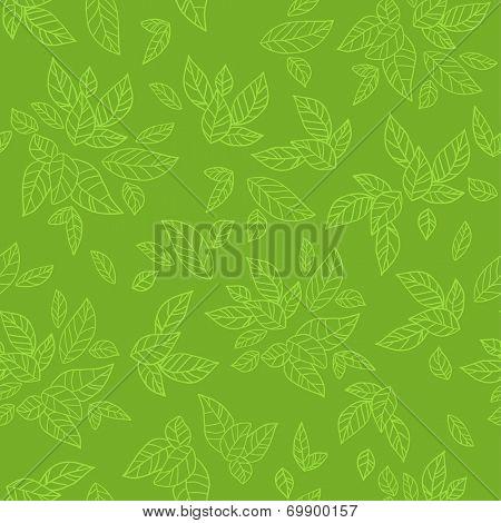 Green seamless pattern. Eco background. Raster version.