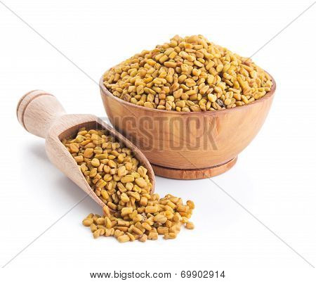 Fenugreek Seeds Isolated On White