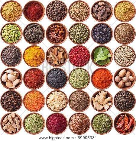 Collection Of Different Spices And Herbs Isolated On White