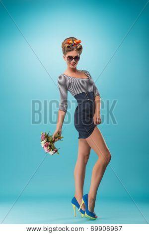 Beautiful girl in pinup style