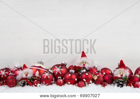 Red And White Christmas Background Of Wood With Balls And Goblin On The Frame.