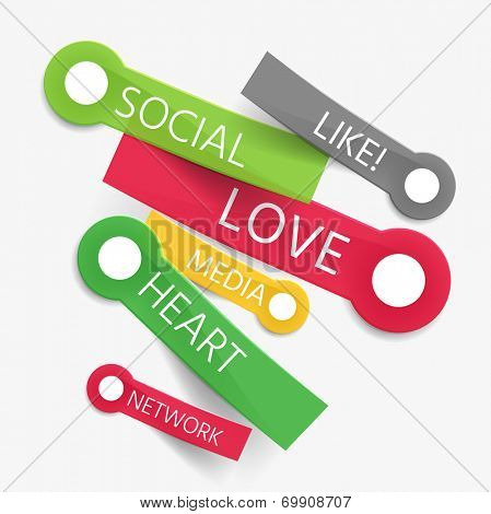 Vector social like tag cloud of stickers - like, love, media, heart and network words