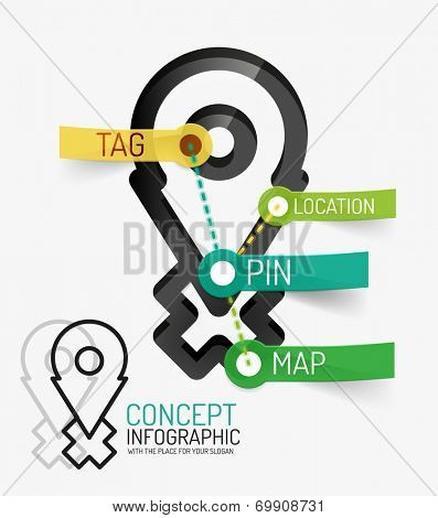 Navigation infographic keywords, line style. Modern flat paper design with tags or your options on transparent stickers