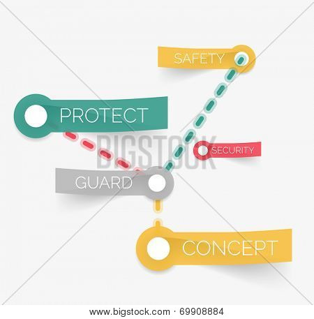Vector protection tag cloud of stickers. Guard, security, safety and protect words connected with line