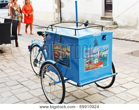 Traditional Street Ice Cream Trolley In France
