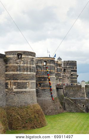 Towers And Moat In Angers Castle, France