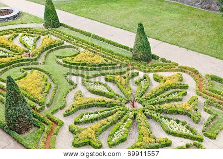Decorative Garden In Angers Castle Moat
