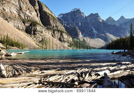 Lake Moraine Early Morning In All It's Beauty, Alberta, Canada