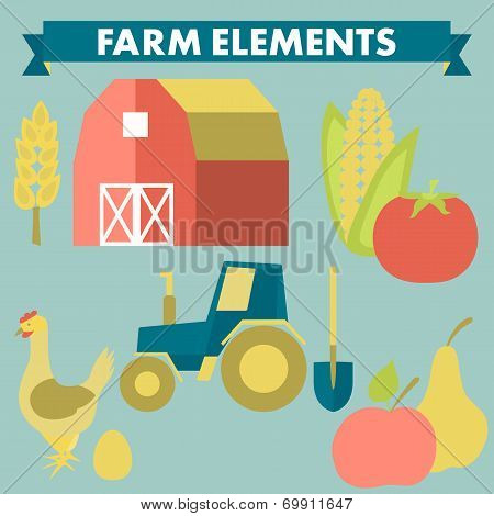 Farm and agriculture icons: spica, tractor, shovel, corn, chicken, egg, tomato